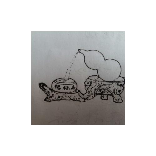 手绘纸袋线描稿